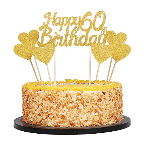 60th Cake Birthday (QIYNAO Gold Glittery Happy Birthday Cake Toppers and love star Cake Smash Birthday Party Decorations, Candle Alternative Set Of 7 (60th))