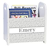 Personalized Gray Dancing Drops White Book Caddy and Rack