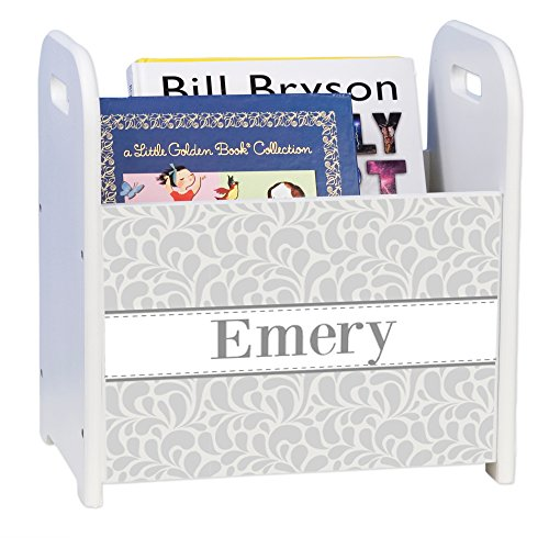 Personalized Gray Dancing Drops White Book Caddy and Rack by MyBambino