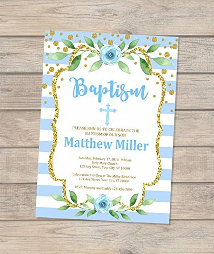 Amazon Com Boy Baptism Invitation Christening Invitation For Baby