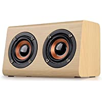 DYJ Portable Mini Trapezoidal Wooden Bluetooth Speaker with Enhanced Bass Resonator, Support Hands-free Calling & TF Card & High Definition Audio, Works with All Bluetooth Devices