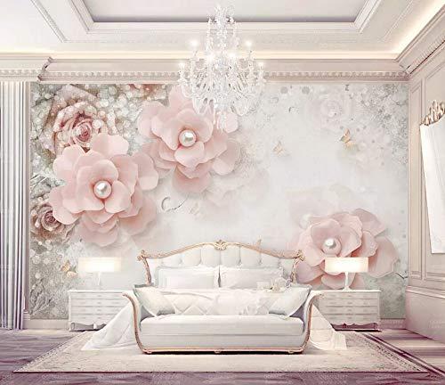 Wallpaper 3D European Beautiful and Elegant Pearl Flower Custom Large Mural 3D Effect Living Room Bedroom Wall Murals