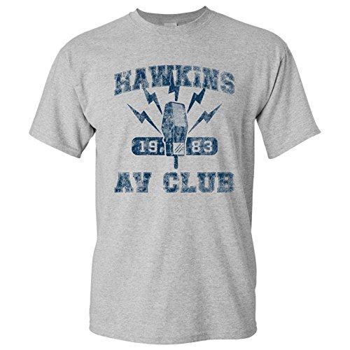 Av Tee (Hawkins AV Club - Stranger Of Things T-Shirt - Large - Sport Grey)