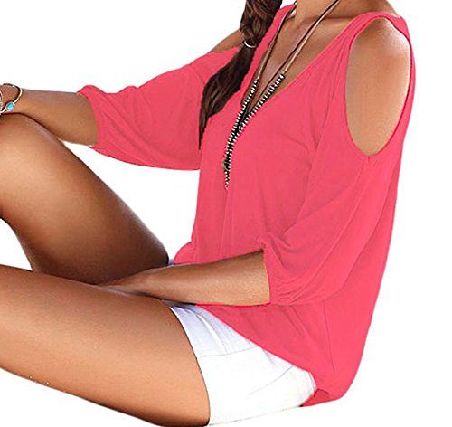 Miss Petite Unlined Jacket (FQHOME Womens Rosy V Neck Cold Shoulder Oversize Top Size S)