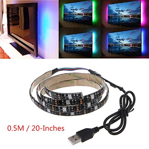 Techinal USB TV Backlight 75 inch Flexible 5050 RGB Waterproof LED Strip Light + 24 Key Remote DC 5V ( 15 LEDs 0.5M / 20-Inches) ()