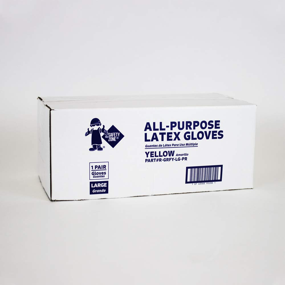 The Safety Zone R-GRFY-LG-PR Reusable Latex Gloves (12 Bagged Pairs of Gloves), Yellow, Large