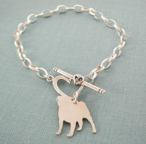 (.925 Sterling Silver Pug Chain Bracelet with Heart Toggle)