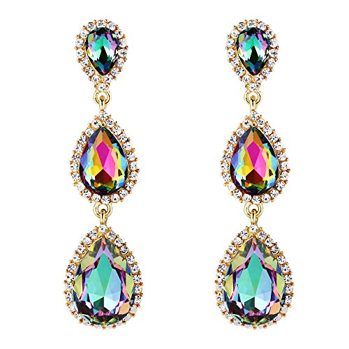 623690640 EleQueen Women's Gold-tone Austrian Crystal Teardrop Pear Shape 2.5 Inch  Long Earrings Emerald Color