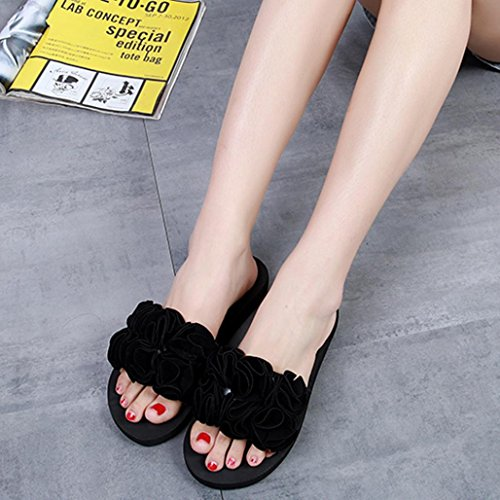 Summer Women Sandals, Flower Thick Sandals Slipper Indoor Outdoor Flip-Flops Beach Shoes - Heels Ladies Ankle Strap Buckle Shoes Flat Wedges Shoes Lovely Footwear Flip Flop Sandal Black