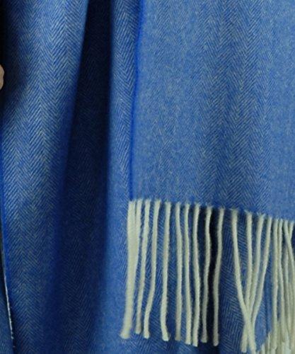 Mantas de GRAZALEMA ® Echarpe - Châle - Foulard Bleu | Femme et Homme | 100% Laine Mérinos | 200 x 75 cm + Franges