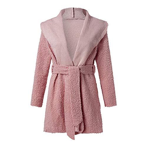 Price comparison product image ANJUNIE Women Pea Coats, Irregular Lapel Neck Outwear Parkas Cinch Waist with Belt Overcoat Cardigan (Pink, S)
