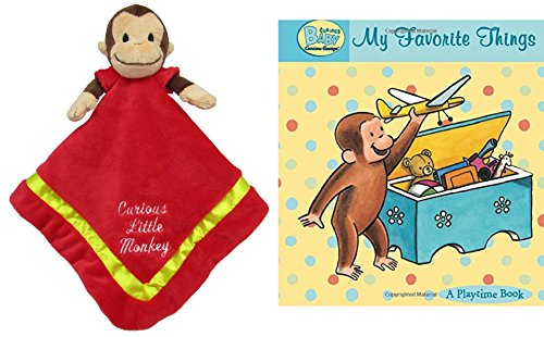 "(Curious George Blanky Lovey Plush 12"" and & Curious Baby My Favorite Things Padded Board Book, Baby Gift Bundle Set Including Yellow Gift Bag and Tissue Paper)"