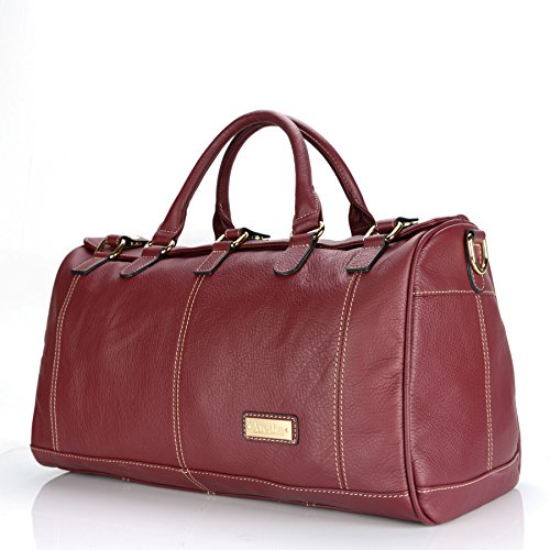 Aretha Genuine Leather Overnight Weekender Leather Duffle Handbag Red With Strap