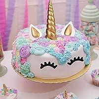AIEX Cake Topper, Oro Hecho a Mano Feliz Cumpleaños Pastel Decoración/Cumpleaños Cake Toppers, Linda Unicornio Cuerno, Orejas y Pestañas, Tartas ...