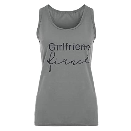 1623af4d2e1b Image Unavailable. Image not available for. Color: Lywey Summer Fashion  Girlfriend Fiance Print O Neck Beach Sling Sleeveless Tank Top Blouse T-
