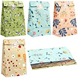 PartyTalk 48pcs Floral Party Favor Bags Watercolor Flowers Paper Gift Bags, Goodie Candy Treat Bags with Thank You Stickers for Wedding Birthday Baby Shower Tea Foral Party Decor