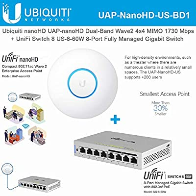 UniFi nanoHD UAP-nanoHD-US Compact Dual Band Wave2 Enterprise Wi-Fi 4x4 MIMO 1730 Mbps with UniFi Switch 8 US-8-60W 8-Port Fully Managed Gigabit Switch 802.3af PoE