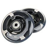 Kutrick 2 Scooter Wheels 100mm pair LED Scooter With Abec 9 Bearings for RAZOR SCOOTER 100mm A, A2 A4, Spark, Spark 2.0 and A Sweet Pea and all 100mm pro or kick scooter (Black)