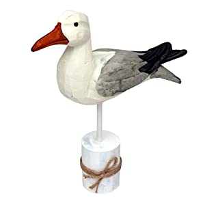 "Beachcombers International 12"" Wood Seagull On Piling With Rope"