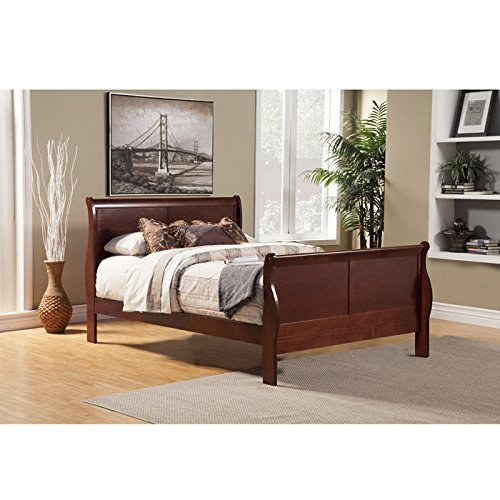 Alpine Furniture 2700Q Louis Philippe II Queen Sleigh Bed in (Philippe California King Sleigh Bed)
