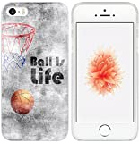 5S Case / Iphone SE Case Basketball / IWONE Apple Iphone 5S 5 SE Case Tpu Skin Cover Protective Rubber Silicone Creative Painting Basketball Quotes Ball Is Life