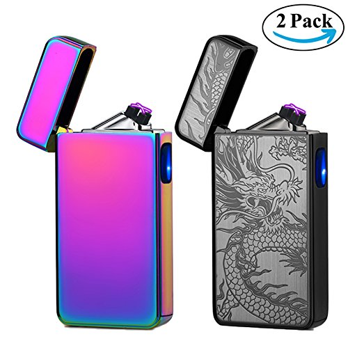 Lighters 2 Pack,Dual Arc Electric Plasma Lighter Rechargeable Flameless Lighter Windproof Lighter for Cigar,Cigarette,Candle, Cool Lighters Bulk (Magic & Black Dragon) (Unique Cigarette Lighters)