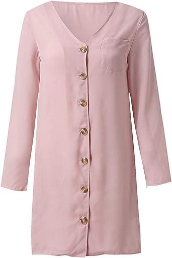 PinkLu sukienka damska, w pełnym kolorze, długa sukienka z guzikiem, spÓdnica ołÓwkowa S-XL rÓżowa: Odzież