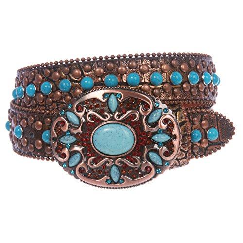 Western Turquoise Rhinestone Studded Croco Print Genuine Leather Belt, Bronze   m/l 36''- 39''