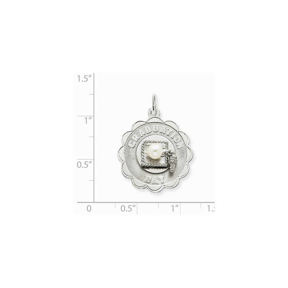 23mm x 30mm Jewel Tie 925 Sterling Silver Graduation Day Disc with FW Cultured Pearl Pendant Charm