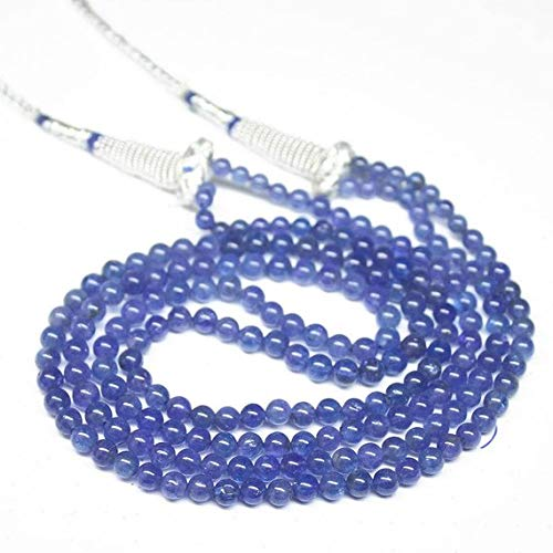 Beads Bazar Natural Beautiful jewellery Natural Blue Tanzanite Smooth Round Ball Gemstone Craft Loose Beads Strand Necklace 17