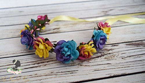 Handcrafted Pink Yellow Blue and Purple Flower Crown - Summer Flower Crown - Woodland Halo - Boho Flower Crown - Flower Girl Halo - Small
