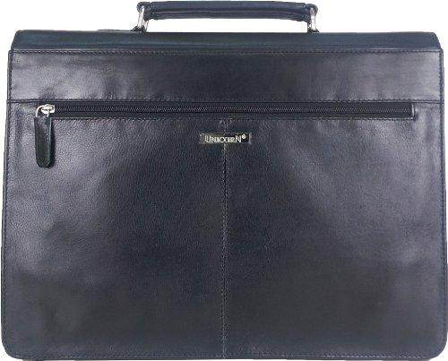UNICORN Echt Leder Schwarz Tasche Unternehmen/Business Exekutive Aktentasche Schlüssel sperren Messenger bag #6N
