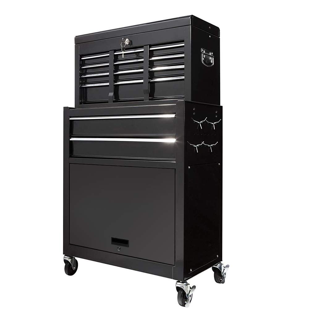 2Pcs Tool Storage Box Portable Top Chest Rolling Tool Box Organizer Sliding Drawers Cabinet Keyed Locking System Toolbox Black by Suny Deals (Image #3)