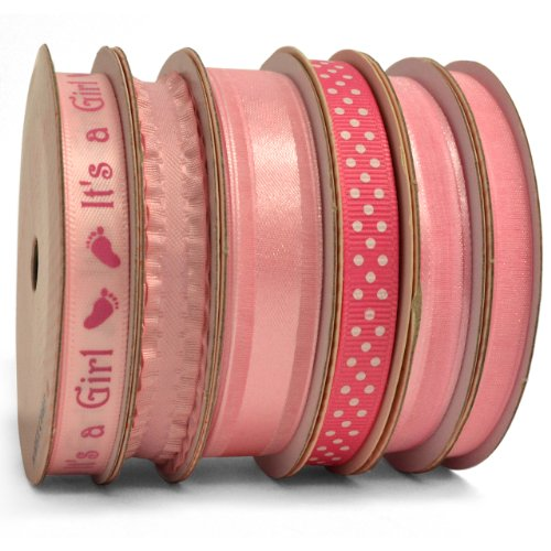 Morex Ribbon 6-Pack Sweet Petite, Baby (Pink Ribbon Centerpiece)