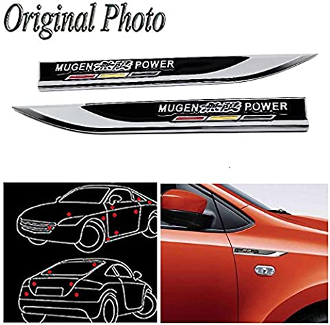 CHAMPLED 2Pcs Great Metal Car Side Fender fit Black MUGEN POWER hot Skirts Knife Type Sticker Badge Emblem For FORD CHRYSLER CHEVY CHEVROLET DODGE CADILLAC JEEP GMC PONTIAC HUMMER LINCOLN - Chevrolet Avalanche 1500 Front Bumper