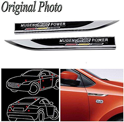 CHAMPLED 2Pcs Great Metal Car Side Fender fit Black MUGEN POWER hot Skirts Knife Type Sticker Badge Emblem For BMW M BENZ AUDI VW VOLKSWAGEN VOLVO JAGUAR by Champled