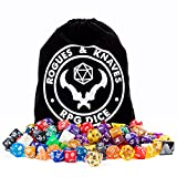 Rogues & Knaves 18 D&D Dice Sets (126 Polyhedral Dice!); Bonus Metal D20, Large Velvet Dice Bag; Sets of DND Dice for RPG Games, Pathfinder, MTG, Math Games.