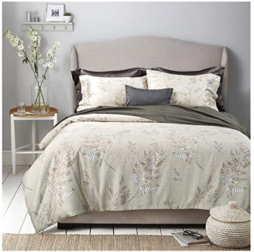(Eikei Vintage Botanical Flower Print Bedding 400tc Cotton Sateen Romantic Floral Scarf Duvet Cover 3pc Set Colorful Antique Drawing of Summer Lilies Daisy Blossoms (Queen, Hint of Lime))
