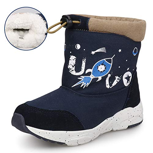 UOVO Boys Girls Winter Boots Boys Girls Snow Boots Kids Warm Fur Lined Slip Resistant Waterproof Cold Weather Outdoor Shoes (Toddler/Little Kids)