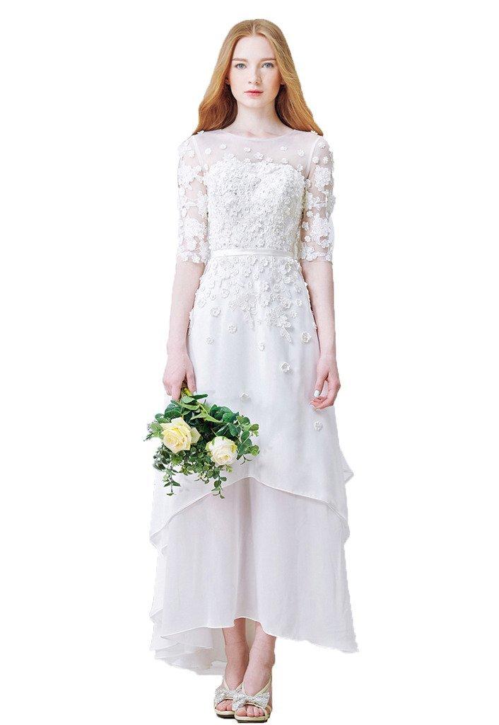Snowskite Women's High-Low Chiffon Beach Wedding Evening Party Dress White 6