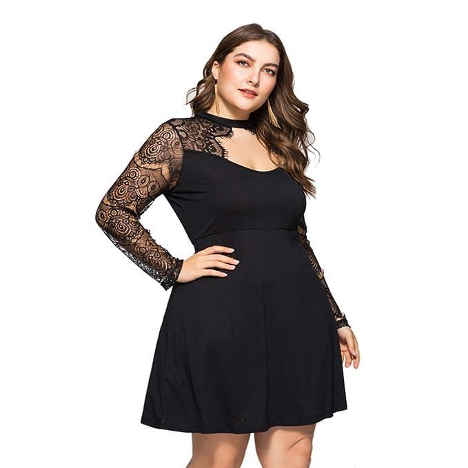 Women Plus Size Lace Sleeve Stitch Short Dress Hollow Out ...
