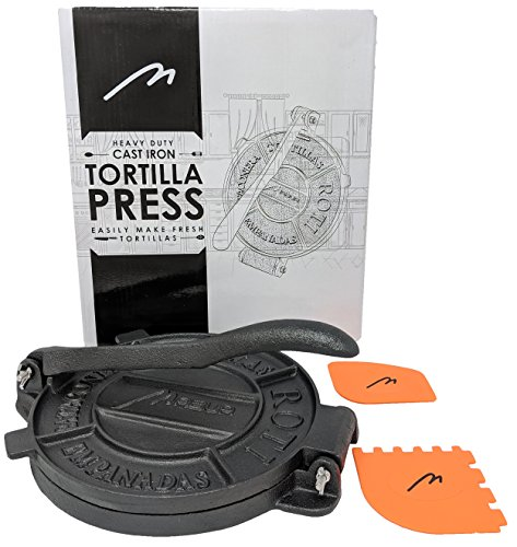 HEAVY DUTY 8 INCHES TORTILLA PRESS ROTI PITA Pataconera WITH 2 SCRAPERS. FREE REPLACEMENT, IF DAMAGED IN 30 DAYS