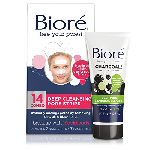 Bioré Deep Cleansing Pore Strips for Nose & Face (14 Count) + Mini Bioré Deep Pore Charcoal...