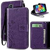 S5 Case, Korecase Premiun Wallet Leather Credit Card Holder Butterfly Flower Pattern Flip Folio Stand Case for Samsung Galaxy S5 NEO With a Wrist Strap - Purple
