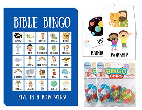 Bible Bingo for Kids Bible Bingo Cards with Bingo Chips Party Game for Christian Families for 24 Players