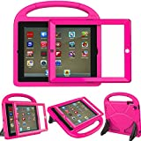 LEDNICEKER Kids Case for iPad 2 3 4 - Built-in Screen Protector Light Weight Shock Proof Handle Friendly Convertible Stand Kids Case for iPad 2, 3rd Gen, 4th Generation - Magenta/Rose