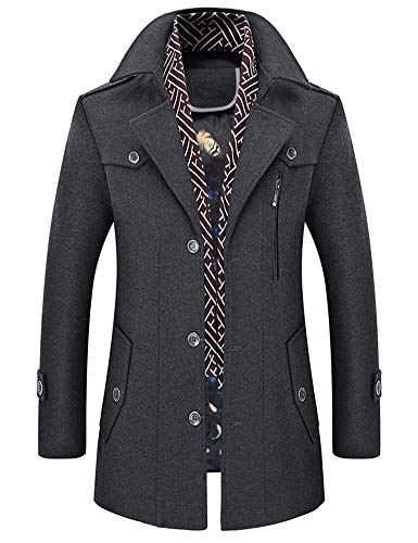 Idopy Men`s Wool Blend Jacket Notched Collar Pea Coat with Detachable Scarf Grey US M