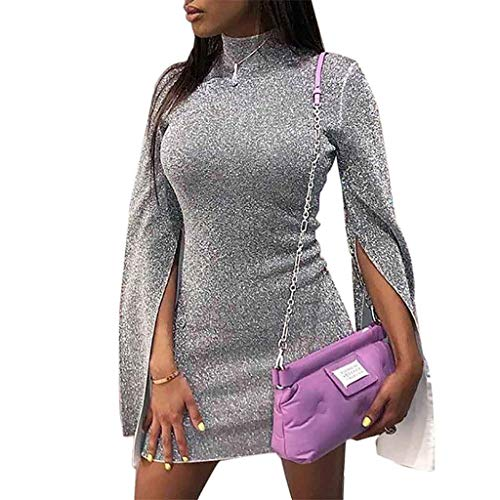 kaifongfu Women Bodycon Dress Evening Party Mini Dresses Long Sleeve(Silver,L) (Best Control Tennis Racquets 2019)