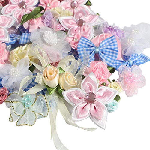 50g/lot(Approx 70-90pcs) Rosette Satin Ribbon Flower Bows Craft Wedding Ornament Appliques (Mixed Colors 1) ()