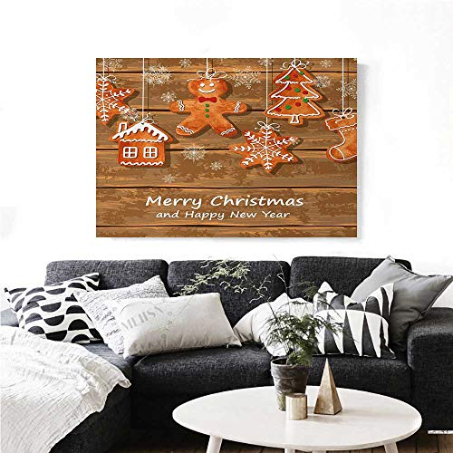 homehot Gingerbread Man Canvas Print Wall Art Funny Watercolor Cookies on Wooden Boards Delicious Xmas Pastry Artwork for Wall Decor 20
